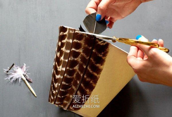 怎么用羽毛改造台灯灯罩的方法图解- www.aizhezhi.com
