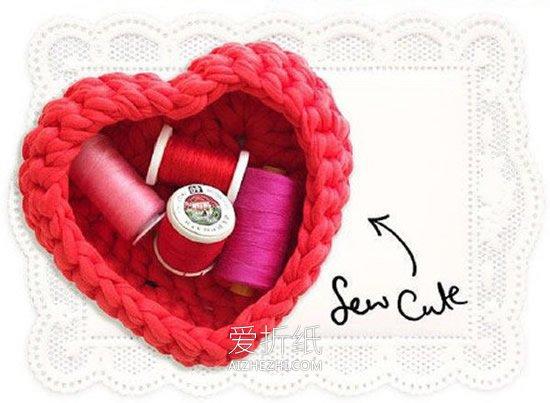 怎么用布带钩织爱心收纳盒的方法图解- www.aizhezhi.com