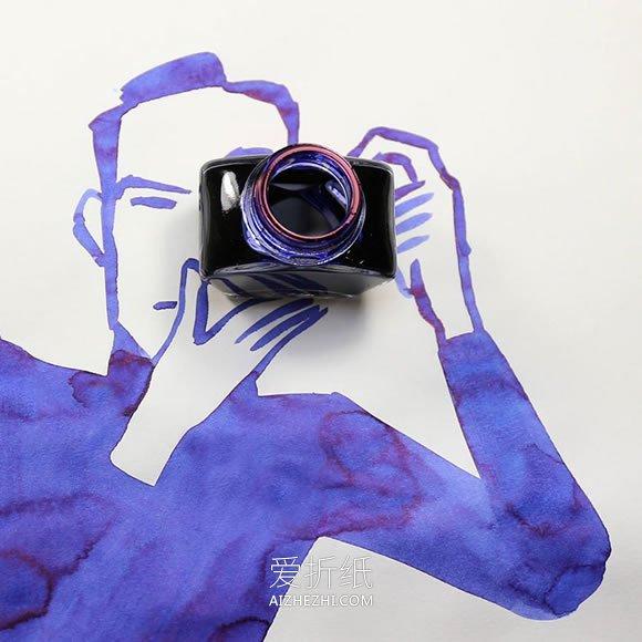 怎么用生活用品和插画做创意画的作品图片- www.aizhezhi.com