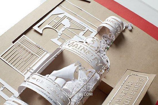 怎么用纸雕做立体伏特加酒瓶的作品图片- www.aizhezhi.com