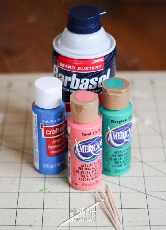 怎么用剃须膏做印染涂鸦风信封的方法图解- www.aizhezhi.com