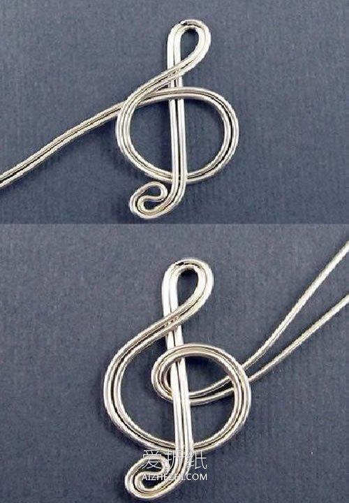 怎么用金属线做创意音符耳环的方法图解- www.aizhezhi.com