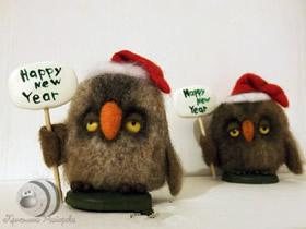 怎么用羊毛做圣诞节猫头鹰摆件的方法图解