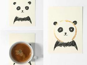 怎么用咖啡污渍做漂亮明信片的作品图片