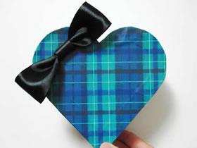 怎么用包装纸做情人节心形礼品盒的方法图解