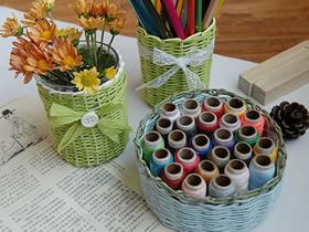 怎么用纸藤编织花瓶、笔筒和收纳篮的方法图解