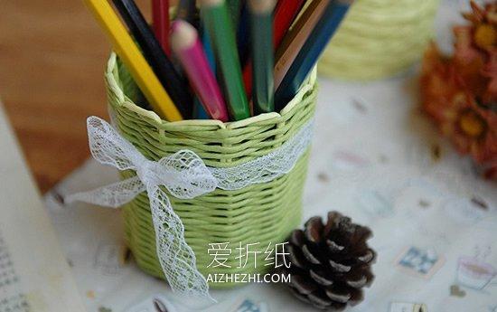 怎么用纸藤编织花瓶、笔筒和收纳篮的方法图解- www.aizhezhi.com