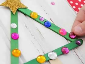 怎么用冰棍棒做圣诞树装饰的方法图解