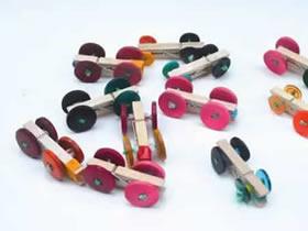 怎么用纽扣做玩具小车的方法图解