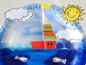 怎么用蛋糕纸盘做帆船玩具的方法图解