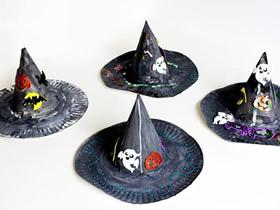 怎么用纸盘做巫婆帽的简单方法图解