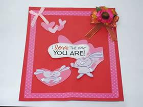 怎么用纸贴做情人节卡片的方法图解