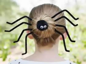 怎么用扭扭棒做万圣节蜘蛛发型的方法图解