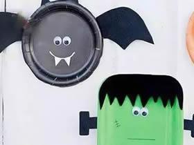 怎么用纸盘简单做万圣节怪物的方法图解