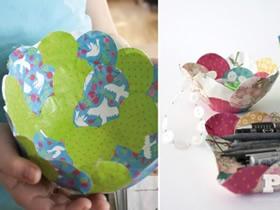 怎么用彩纸做花型收纳盘的方法图解