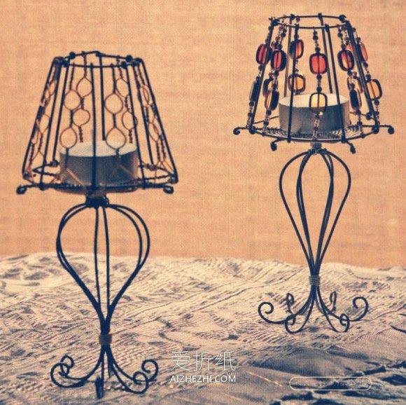 怎么用金属丝做欧式灯型烛台的方法图解- www.aizhezhi.com