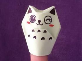 怎么简单折纸猫咪手偶的折法图解