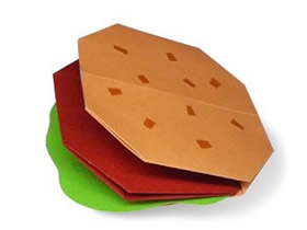 怎么简单折纸汉堡包的折法图解