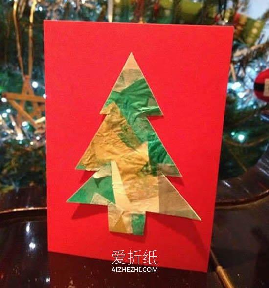 怎么用卡纸简单做圣诞树贺卡的方法图解- www.aizhezhi.com