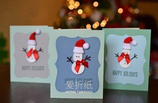 怎么用纽扣做精美圣诞雪人贺卡的方法图解- www.aizhezhi.com