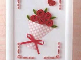 怎么用衍纸做玫瑰花束衍纸画的方法图解