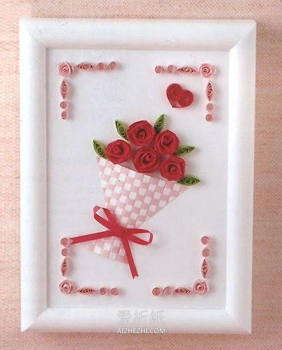 布娃娃花束怎么做_怎么用衍纸做玫瑰花束衍纸画的方法图解_爱折纸网