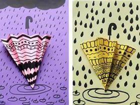 怎么简单做雨天雨伞贴画的方法图解