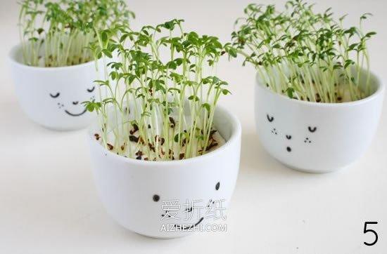 怎么用陶瓷杯做可爱花盆的方法图解- www.aizhezhi.com