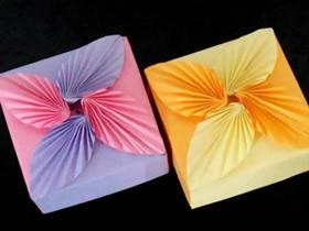 怎么折纸带盒子的花朵盖子的折法图解