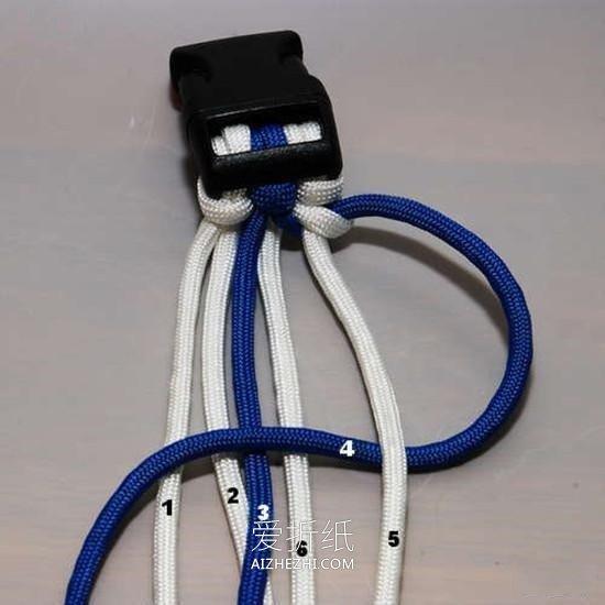怎么用六股绳编织宽版手链的编法图解- www.aizhezhi.com