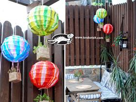 怎么用灯笼做创意热气球花盆的方法图解