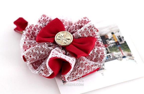 怎么用缎带做洛丽塔风格蝴蝶结发夹的方法图解- www.aizhezhi.com