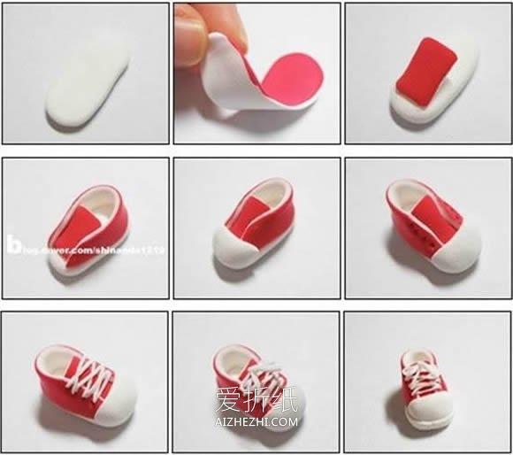 怎么用超轻粘土做鞋带鞋子的方法图解- www.aizhezhi.com