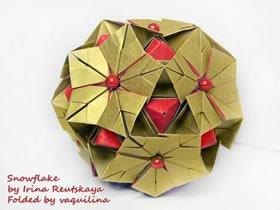怎么折纸雪花花球的折法图解