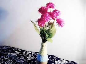 怎么用纸藤缠绕塑料瓶做花瓶的方法图解