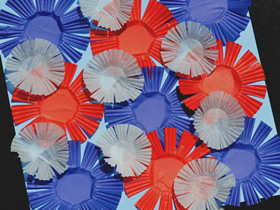 怎么用蛋糕纸做国庆节烟花粘贴画的方法图解