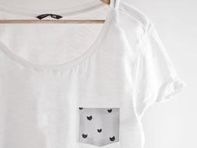 怎么改造旧T恤加上一个口袋的方法图解