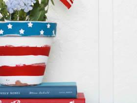 怎么简单做美国国庆节星条旗花盆的方法图解