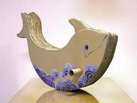 怎么用硬纸板做海豚木马玩具的方法图解