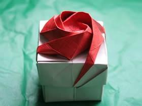 怎么折纸韩式玫瑰花盒的详细折法图解