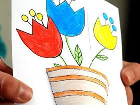 怎么用卡纸手工做花盆教师节卡片的方法图解