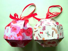 怎么折纸绣球礼品盒的折法图解