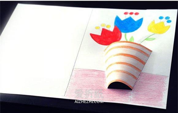 怎么用卡纸手工做花盆教师节卡片的方法图解- www.aizhezhi.com