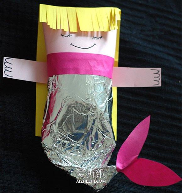 怎么用纸芯筒简单手工做美人鱼的方法图解- www.aizhezhi.com