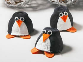 怎么用鸡蛋盒手工做企鹅