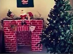 怎么用快递盒做圣诞壁炉