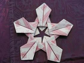 怎么用纸币折纸五瓣莲/五角星的方法图解