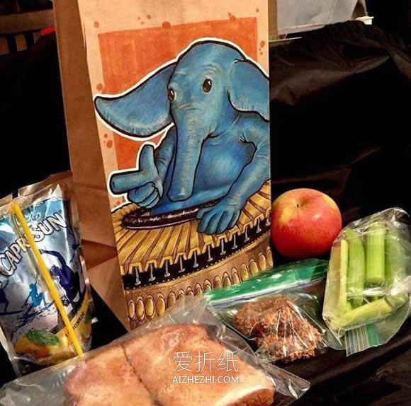 妈妈为孩子手工做的手绘爱心午餐袋- www.aizhezhi.com