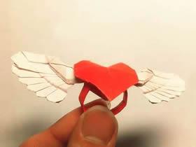怎么折带翅膀爱心戒指的折法