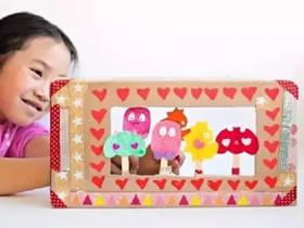 怎么用鞋盒做手偶剧院玩具